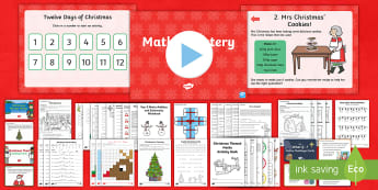 Year 2 Christmas Maths Activity Pack - Number bonds, word problems, time, mastery, addition, subtraction, multiplication, division, place v