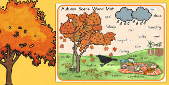Autumn Scene Word Mat - seasons, weather, keywords, visual aid