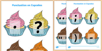 Punctuation Marks on Cupcakes (A4) - Punctuation, VCOP, flashcard, flashcards, writing aid, writing aids, ellipsis, comma, brackets, semicolon, colon,  full stop, capital letter, foundation stage literacy, letters and sounds, DfES, KS1