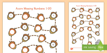 Acorn Missing Numbers 1-20 Activity Sheet - fall, autumn, activity sheet, fall activity sheet, fall math activity, aautumn math, number recognit