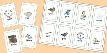 QU Playing Cards - speech sounds, phonology, articulation, speech therapy, cluster reduction