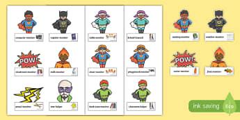 Superhero Classroom Monitor Labels