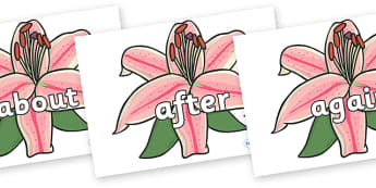 KS1 Keywords on Lilies - KS1, CLL, Communication language and literacy, Display, Key words, high frequency words, foundation stage literacy, DfES Letters and Sounds, Letters and Sounds, spelling