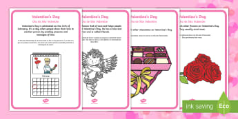 Valentine's Day Display Facts Posters English/Portuguese - Valentine's Day,  Feb 14th, love, cupid, hearts, valentine, eal