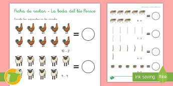 Ficha de actividad: La boda del Tío Peric contar y restar - cuentos, tradicionales, gallo, animales, boda,Spanish