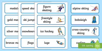 Winter Olympics Word Cards - 2018, February 2018, South Korea, Paralympics, Olympics, Sporting Events.