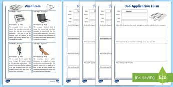 Class Newspaper Job Application Writing Worksheet / Activity Sheet - literacy, developing the young workforce, DYF, skills for work, training,Scottish