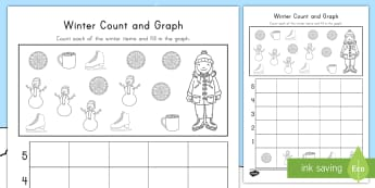 Winter Count and Graph Activity Sheet - winter, count and graph, winter count and graph, winter activity sheet, winter graphing, winter math