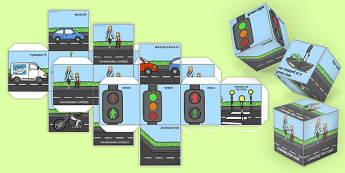 Siguranța rutieră - Zaruri - Siguranța rutieră, Zaruri - educatie rutiera, trafic, reguli de circulatie, jocuri, joc, materiale, materiale didactice, română, romana, material, material didactic