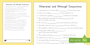 'Although' and 'Otherwise' Conjunctions Worksheet / Activity Sheet - Grammar, Language, sentences, cloze, English, worksheet