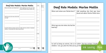 Deaf Role Models Marlee Matlin Research Activity - Deaf, Identity, culture, community, British Sign Language, BSL, hearing impaired, ICT