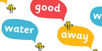Next 200 Common Words on Speech Bubbles - DfES Letters and Sounds, Letters and Sounds, Letters and sounds words, Common words, 200 common words