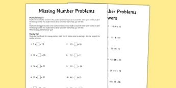 Grade 3 Missing Number Problems Activity Sheet - worksheet, test skills, NAPLAN, equations, number sentences, missing numbers, inverse operations, part part whole, problem solving, reasoning