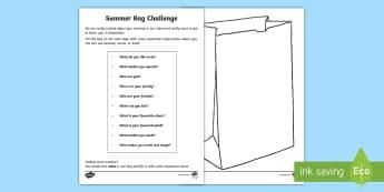 Transition Summer Bag Challenge Activity Sheet - PSHCE, transition, special, change, relationships