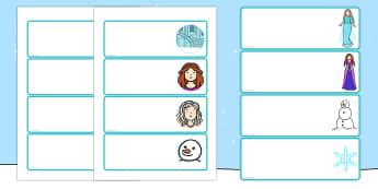 Winter Fairytale Drawer Peg Name Labels - frozen, name, labels, Elsa