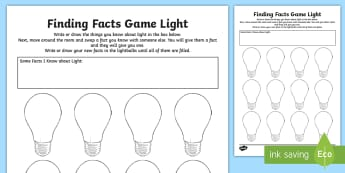 Light Finding Facts Activity Sheet - Light waves, refraction, reflection, light shows, look! Listen!, seeing, sight, ACSSU020, ACSSU080,