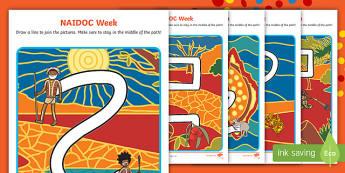 NAIDOC Week Pencil Control Path Activity Sheets - EYLF, Australia, Foundation, Fine motor, NAIDOC, aboriginal, pencil control, kindergarten, preschool