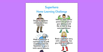 Superheroes Themed Home Learning Challenge Sheet Reception FS2