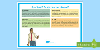 Are You P Level Learner Aware? Adult Guidance A4 Display Poster  - SEN, SEND, P Level, Learning Support, Inclusion, Noticeboard, SENCo