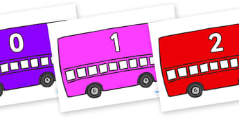 Numbers 0-31 on Buses - 0-31, foundation stage numeracy, Number recognition, Number flashcards, counting, number frieze, Display numbers, number posters