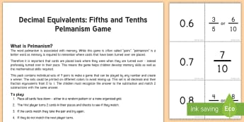 Decimal Equivalents Fifths and Tenths Pelmanism Game - memory, Pelmanism, matching, decimal, game, math, station, center, problem solving, fractions