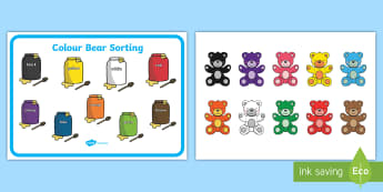 Colour Bear Sorting Cards - colors, color bear, color sorting, activity mat, color activity Mat, color bear activity mat