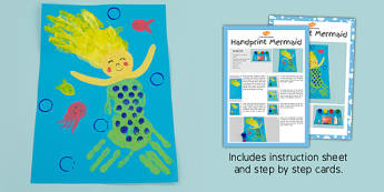 Handprint Mermaid Craft Instructions (Under the Sea) - sea, mermaids, hands