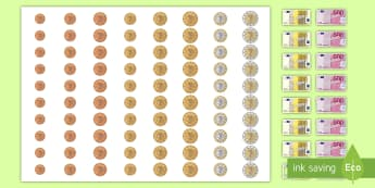 New Euro Money Large Display Cut-Out Pack - measures,  money, euro, large cut-outs, display area,Irish
