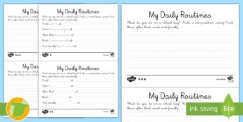 Escribiendo: Mis rutinas diarias en inglés - Rutinas diarias, escritura, decir la hora