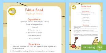 Edible Sand Playdough Recipe - Beach,Sea, Ocean, Playdough Recipe, Recipe, Sand, Edible Recipe, Edible Sand Playdough