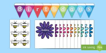Buzzy Bee Birthdays Display Pack - birthdays, graph, pictograph, months, display, birthday display, bunting, bee display, flower displa