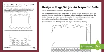 LA Design a Stage Set: Act 1 of An Inspector Calls Activity Sheet  - design a stage set, lower ability pupils studying an inspector calls, act 1 an inspector calls, act