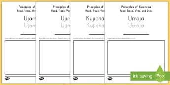 us t a principles of kwanzaa read trace write and draw activity sheets ver 1