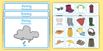 Weather Clothes Sorting Activity English/Polish - Weather Clothes Sorting Activity - clothes sorting activity, weather and the seasons, clothes, weath