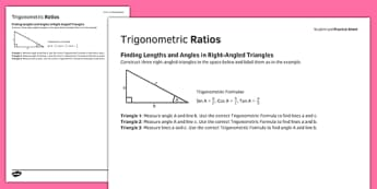 Student Led Practice Sheet Trigonometric Ratios - KS3, KS4, maths, GCSE, revision, practise, trigonometry, right angled triangle, ratio, cos, sin, tan