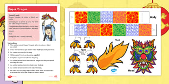 Dragons in the City Paper Dragon Craft Instructions - Twinkl Originals, Fiction, KS1, EYFS, Chinese New Year , dragons, puppet, art activity, design and m