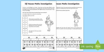 Elf Houses Investigation Activity Sheet - UKS2, maths, investigation, Christmas, elf, number, logic