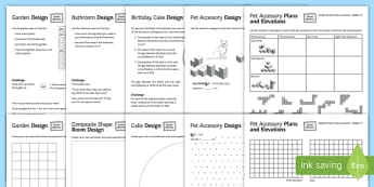 Shape at Home Simple Perimeter Area and Volume GCSE Grades 1-3 Activity Sheets - shape at home, simple, perimeter, area and volume, gcse, grades, activity