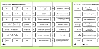 GCSE Maths Formulae Frenzy Matching Activity - Maths, KS3 KS4, formula, GCSE, shape, measure, area, volume, probability, trigonometry, compound interest