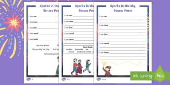 Sparks in the Sky Senses Poem Differentiated Activity Sheets - KS1, Poetry, Bonfire Night, Fireworks, Guy Fawkes Night, worksheet, poems, twinkl originals, sensory