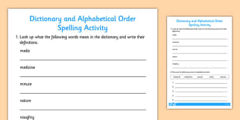 Dictionary Definitions and Alphabetical Order Activity - activity