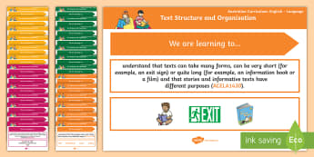 Language Content Descriptions: Text Structure and Organisation Display Posters - Australian Curriculum English Content Descriptions Display Posters, Content Descriptors, Text Struct