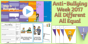 Anti-Bullying Week 2017: All Different - All Equal First Level Resource Pack - Difference, Prejudice  Equality, Fair, Fairness, Bully, Friendship, Relationship, Scottish