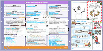 EYFS Enhancement Ideas and Resources Pack to Support Teaching on The Snowman - Early Years, continuous provision, early years planning, Winter, Christmas, story, The Snowman, Raymond Briggs, planning