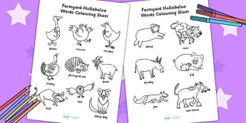 Words Colouring Sheet to Support Teaching on Farmyard Hullabaloo - farm, colour, drawing