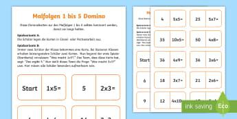 Malfolgen 1 bis 5 Domino Karten - Domino, Malfolgen, Multiplikation, 1x1, domino, multiplication, times table,German