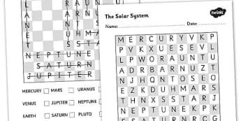 Solar System Wordsearch - solar system, space, space wordsearch, our solar system, planets, planets wordsearch, science activity, solar system games, ks2