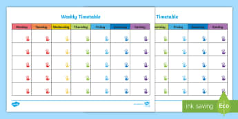 Handprints Themed Weekly Timetable - handprints, timetable, week