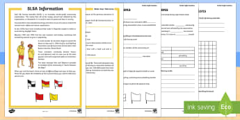 Surf Life Saving Australia Information Activity Sheet - Surf Life Saving Australia, surfing, surf, life saver, life saving, lifeguard, beach, beach safety,A