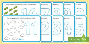 Number Playdough Mats (11-20) - Playdough mat, playdough resources, numeracy, numbers, playdough